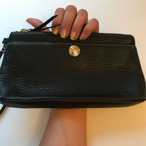 Coach Black Leather Clutch Wristlet